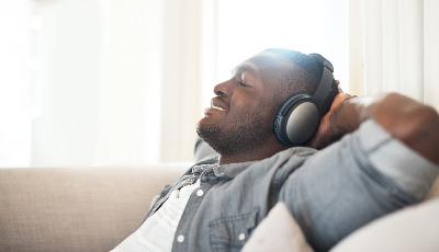 Man relaxing with headphones